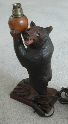 Magnificent Antique Black Forest Carved Wooden Bear Table Lamp - Ruef