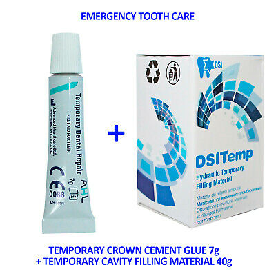 Emergency First Aid Temporary Dental Crown Cement 7g + Filling Material 40g