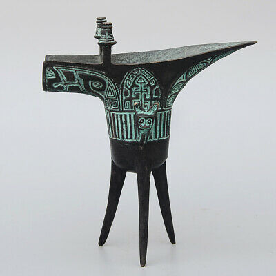 Collectable Handwork Antique Bronze Carve China Ancient Drinking Tool Wine Cup