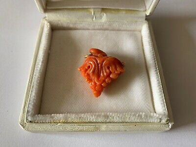 Rare Antique Original 1900 Red Coral Pendant Flower 5g Gold Chinese Export Charm