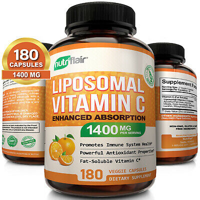 Liposomal Vitamin C 1400mg 180 Capsules High Absorption Immune Support Exp 05/21