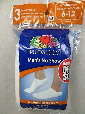 3  PAIRS New In The Bag  Fruit Of The Loom Men's No Show Socks With Gray Sole