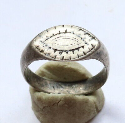 Ancient Old SILVER VIKING FABULOUS STATUS Ring Runic Ornament VERY RARE