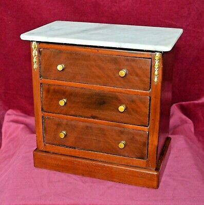 Antique Victorian Miniature French Mahogany Chest of Three Drawers Marble Top
