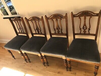 Four stunning  Arts & Crafts Oak Chairs WITH SOFT seats