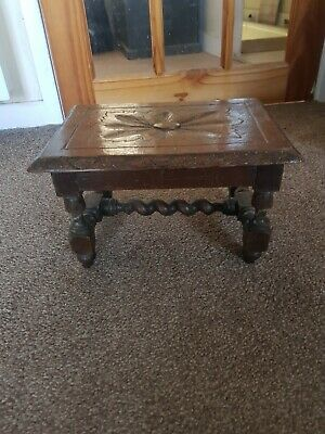 unusual  antique  oak small table stool barley twist  legs