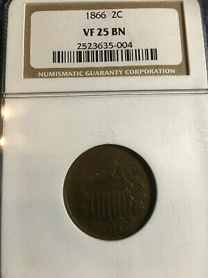 1866 Two Cent Ngc Vf-25Bn