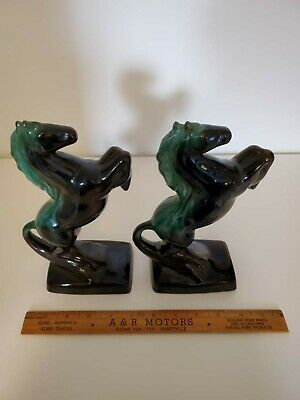 Pair Blue Mountain Pottery Horse Bookends Old Fort Henry Citadel of Upper Canada