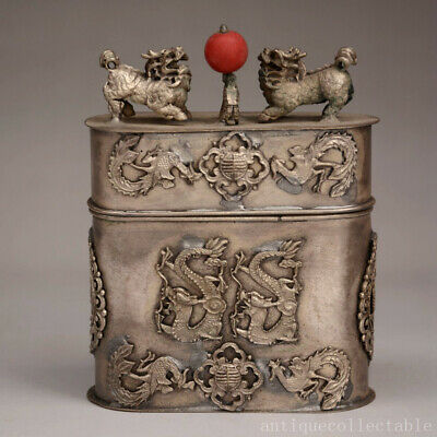 Collect Old Tibet Silver Hand Carve Myth Dragon & Phenix & Kylin Auspicious Box