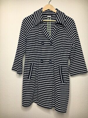 CAbi size Maritime Trench Coat Jacket Blue & White Stripes Size Large EUC