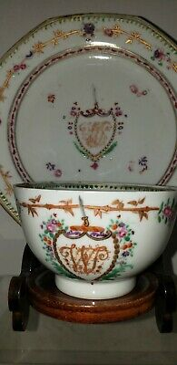 Antique Chinese Export Porcelain Tea Cup Bowl & Saucer Armorial 18th century