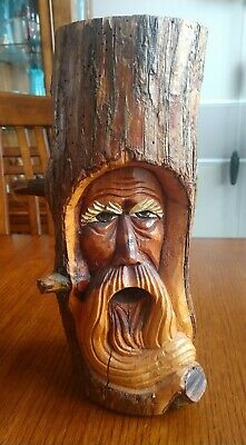 "Hand Carved Tree Spirit Old Man with Beard Art Sculpture Wood Log 10 3/4"" Tall"