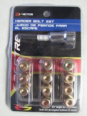 """46703 Spectre Header Bolt Set 3/4"""" Length 3/8""""-16 Threads Qty:11 Opened, Used 1"""