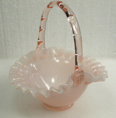 "Vintage Fenton Art Glass 1940""S Rose Overlay Handled Basket W/Ruffled Edge"