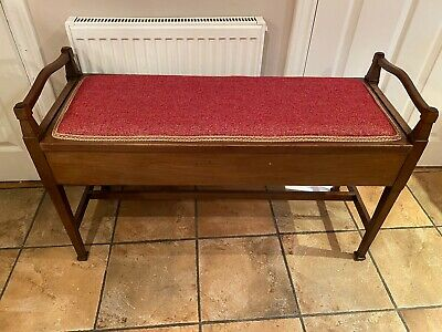 Stunning reupholstered antique double duet piano stool With Storage In VGC