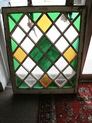 Antique Stained Glass Window/S Slag Glass Green Amber Diamond Pattern Salvage
