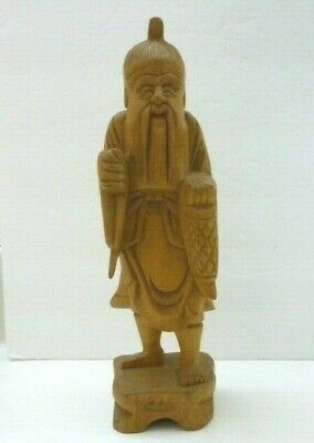 Vintage Chinese Wood Carving ~ Old Man Statue Figure Fisherman?