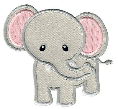 PatchMommy Elephant Iron On Patch (Grey/Pink)-  Animal Applique for Kids