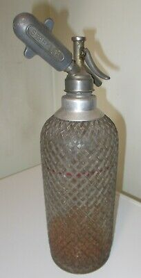 Vintage Rare Wire Mesh Encased Soda Siphon Made In England