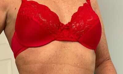 Vintage Olga Red Gorgeous Satin and Lace Underwire Bra 36B Style 33007