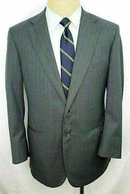 40R Tom James Royal Classic Gray Striped Wool Mens Double Vent Suit 34x30 FE0