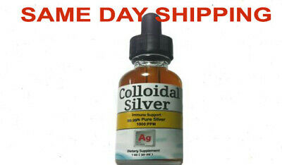 Colloidal Silver 1000ppm HIGH CONCENTRATION 9999% Pure Silver 1 oz Glass Bottle