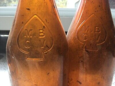 M B C V brown glass beer bottle Victoria Australia 28 cm high collectable x 2