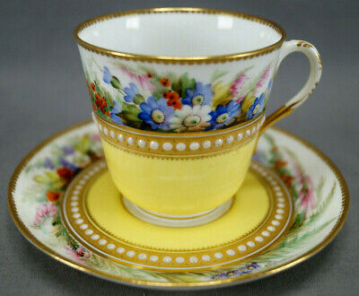 Royal Worcester Hand Painted Floral Yellow & White Jeweled Cup & Saucer C. 1879
