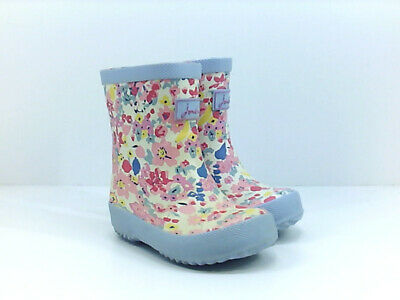 Kids Joules Girls Welly Rubber Mid-Calf Pull On Rain, White Ditsy, Size 5.0 ds8B