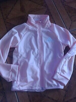 ADIDAS Girls coral Tracksuit Top age 7-8 years