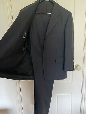 Fletcher Jones 100% Wool Dark Grey Suite Jacket Size 108S Pants Size 96 / 79