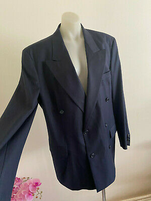 HUGO BOSS Bassini Palermo Double Breasted Suit Jacket Blue Pinstripe 48 Cashmere
