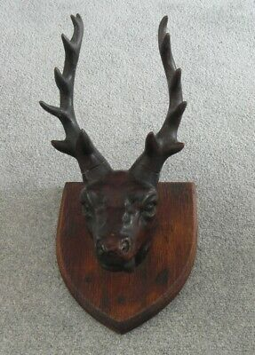 Amazing Antique Black Forest Carved Wooden Wall Mounted Deer Head Sculpture