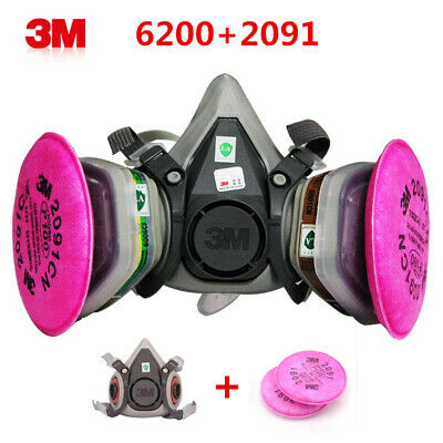 3M 3in1Half Face Chemical Spray Paint Protector Vapour Gas Dust 6200+2091 Filter