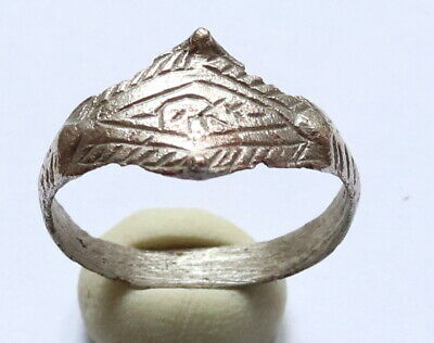Ancient Old Viking Era SILVER FABULOUS STATUS Ring Runic Ornament VERY RARE