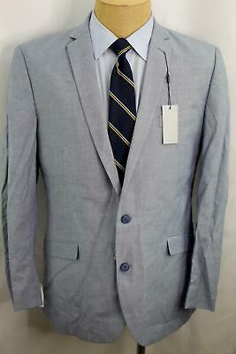 New 44L Kenneth Cole Unlisted Slim Fit Blue Denim 100% Cotton Sport Coat MA0