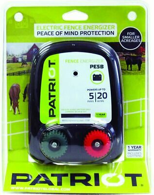 Patriot Pe5B Battery Powered Electric Fence Charger / Energizer 5 Miles 20 Acres