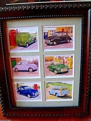 Morris Minor   - 6  Reproduction Trade Cards In A Frame