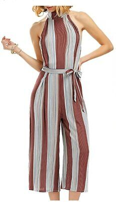 Goodiyou Womens Striped Self Tie Back V Neck Crop Cami Top Camisole