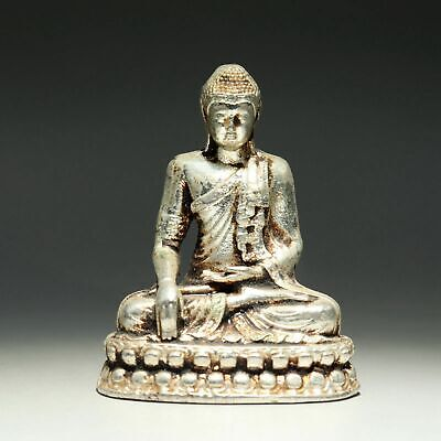 Collectable China Old MIao Silver Hand-Carved Sakyamuni Buddha Exorcism Statue