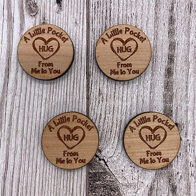 Wooden Little Pocket Hug Heart Tokens for Loved Ones in need of a Hug Gift