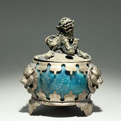 Collect China Old Miao Silver Armour Agate Hand-Carved Myth Kylin Luck Censer