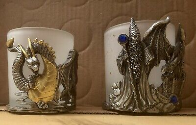 (2) Glass & Pewter Metal Dragon, Castle & Wizard Candle Holder Set Two Tone Gems