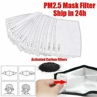 10Pcs PM2.5 Face Safe Filter Replacement Activated Carbon Filters Mouth Cover