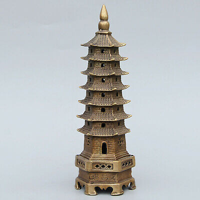 Collectable Handwor Antique Bronze Carved Pagoda Moral Exorcism Decorate Statue