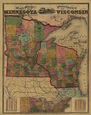 Railroad and post office map of Minnesota c1871 24x30
