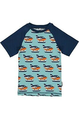 *NEW* Maxomorra -Slim t-shirt blue with sea plane. Size 74/80-9-12 months.