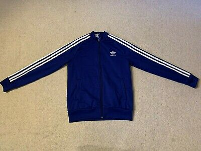 Adidas Originals Superstar boy's tracksuit top in blue/white - age 14