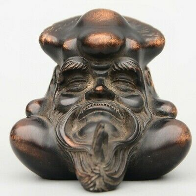 Collectable China Old Red Copper Hand-Carved Immortal Moral Bring Luck Statue