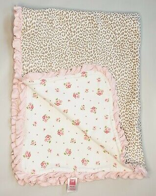 Carters White Pink Floral Cheetah Leopard Print Baby Blanket Ruffle Flower